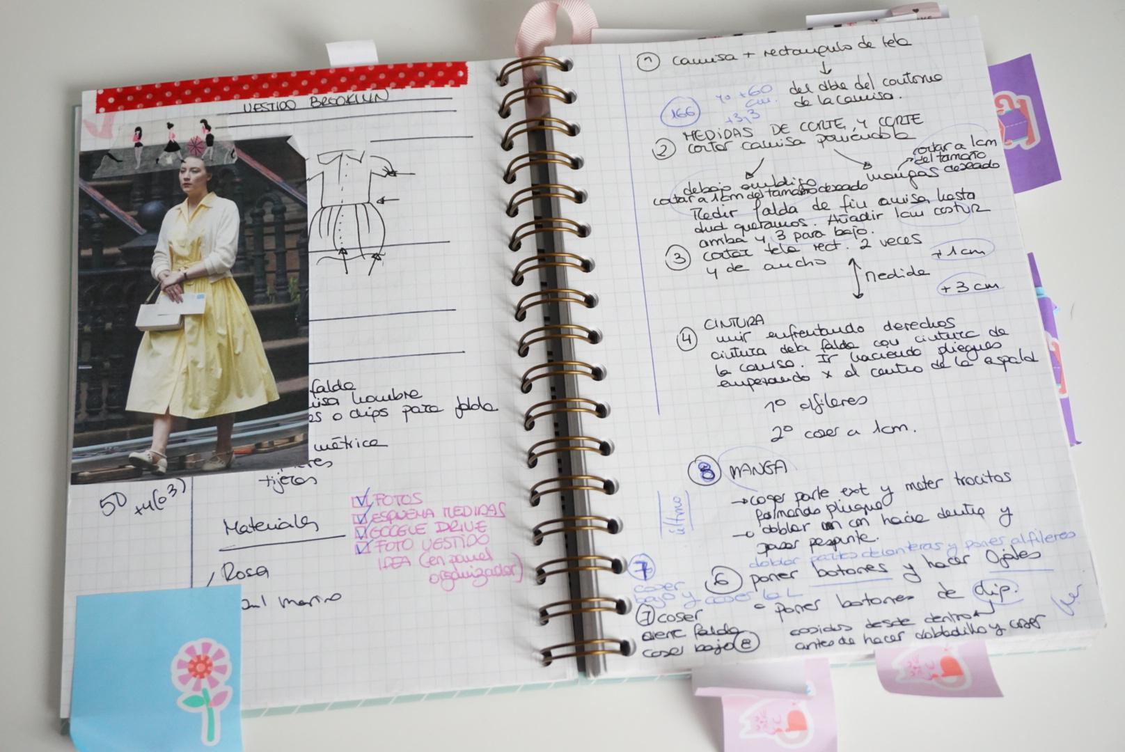 libreta de proyectos de costura